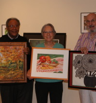 Hugh Corbin, Autumn Leaves; Nancy Preuss, Peppers and Hearts; Ted Riley, Still Life