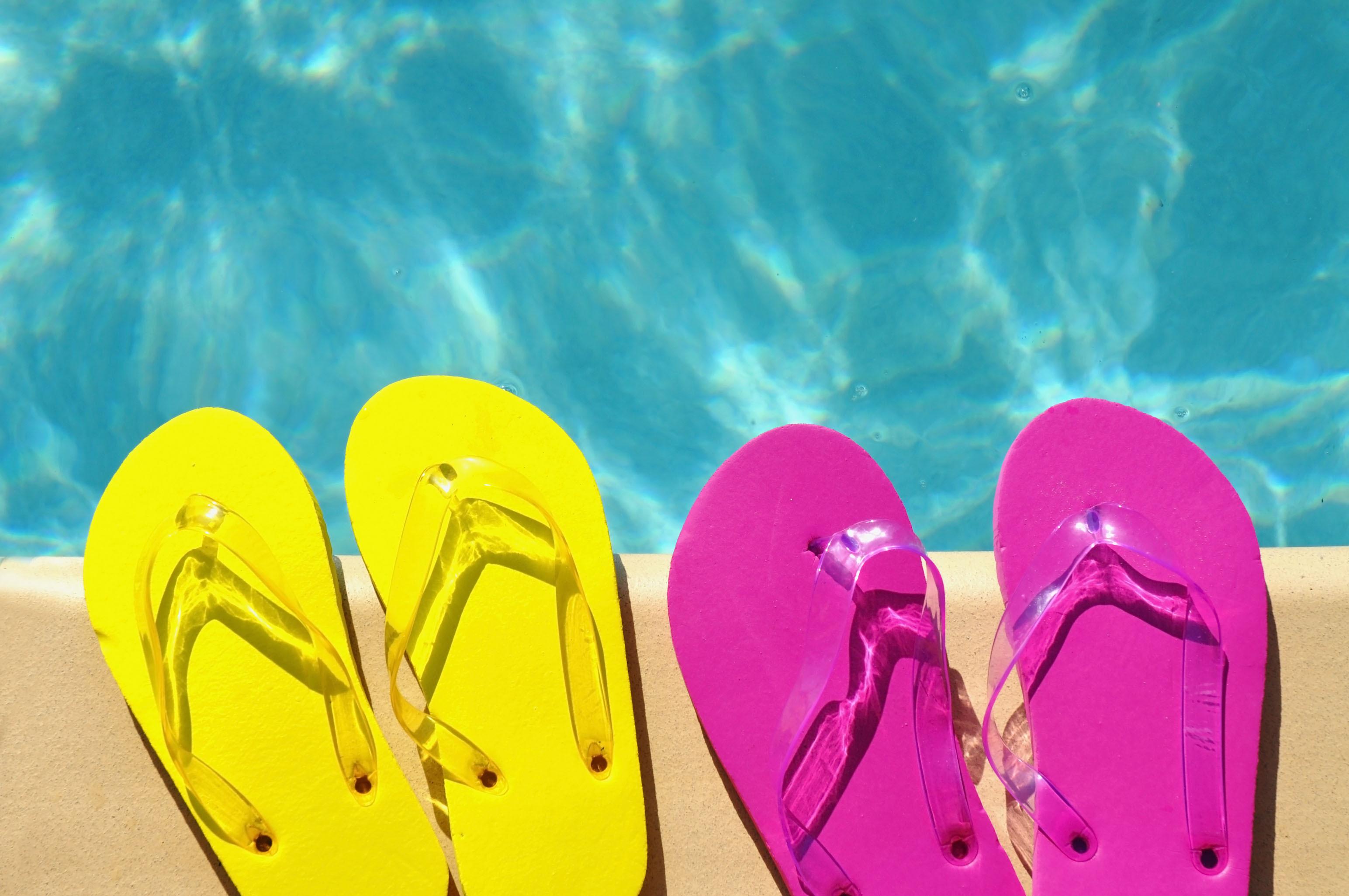 double flip flops by pool