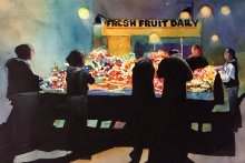 Night at the Fruit Stand, Watecolor and Black Gesso